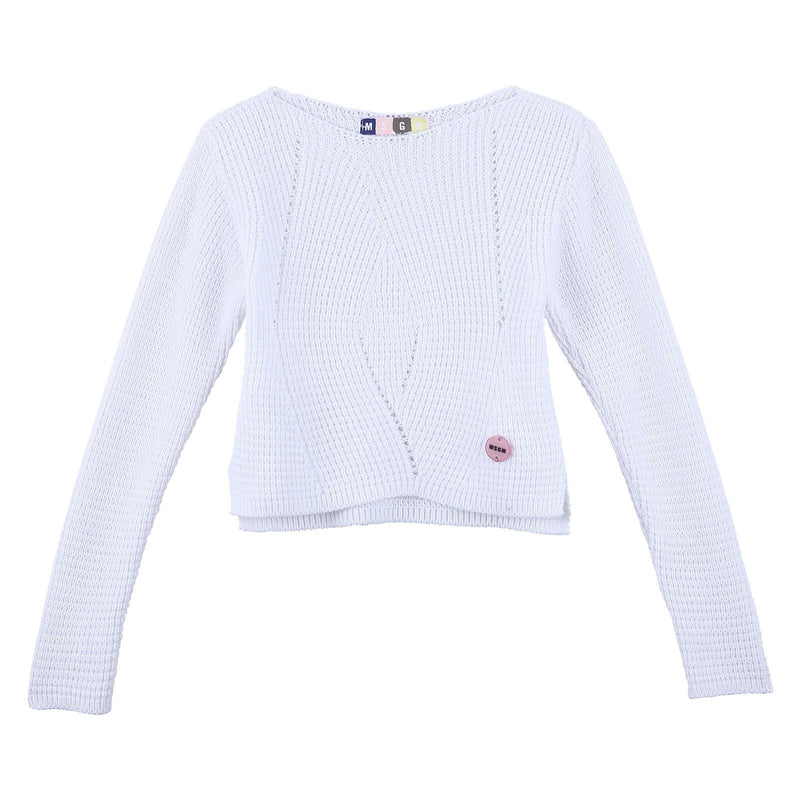 Girls White Knitted Jersey Cardigan With Brand Logo Patch - CÉMAROSE | Children's Fashion Store - 1