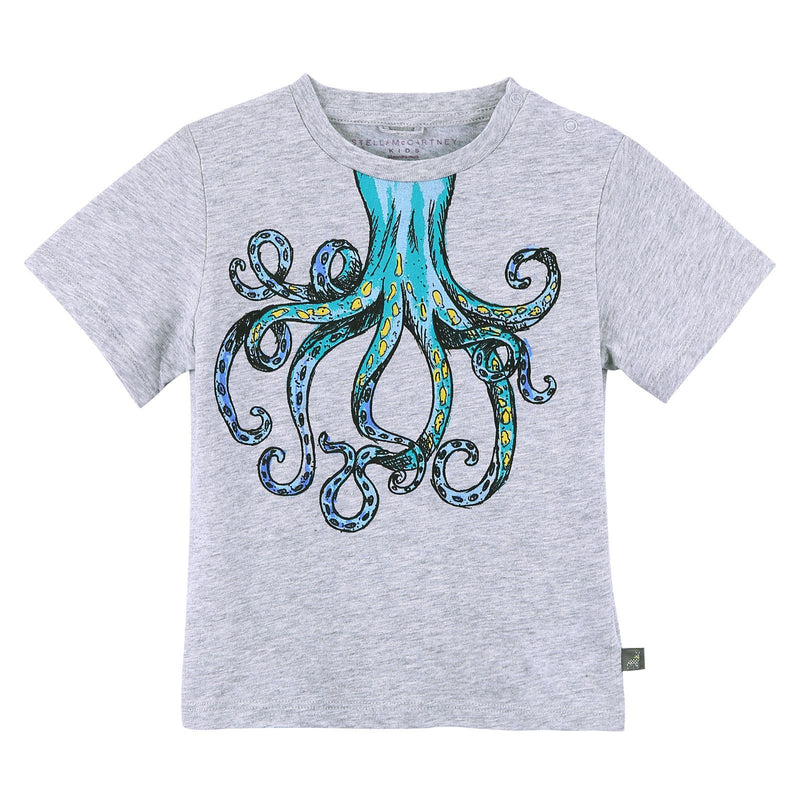 Baby Girls Grey Cotton T-Shirt With Octopus Print Trims - CÉMAROSE | Children's Fashion Store - 1
