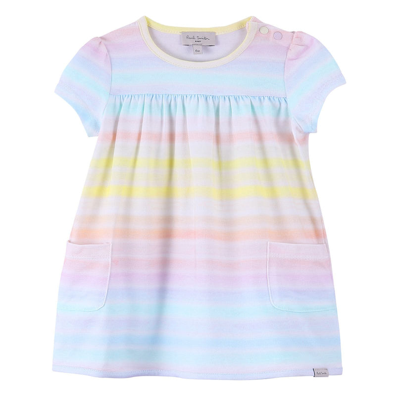 Baby Girls White Cotton Dress With Colorful Stripe - CÉMAROSE | Children's Fashion Store - 1