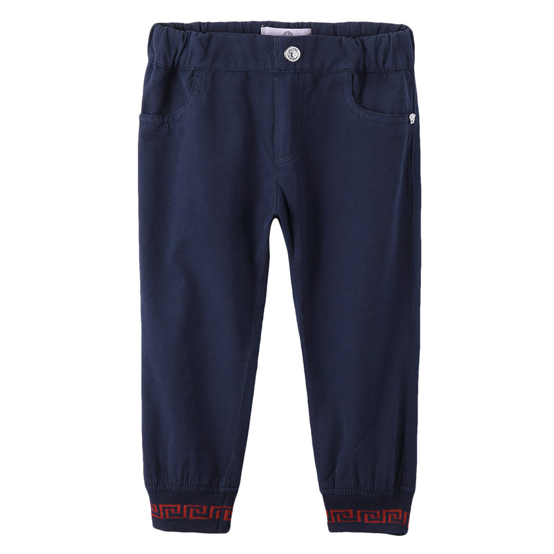 Baby Boys Navy Blue Ribbed Cuffs Cotton Trousers - CÉMAROSE | Children's Fashion Store - 1