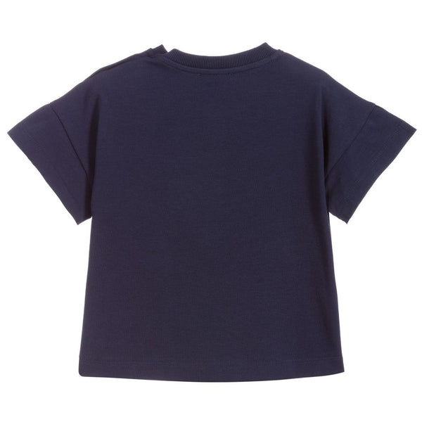 Girls Navy Logo Cotton T-shirt