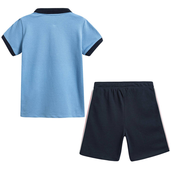 Baby Boys Blue Cotton Polo Outfit