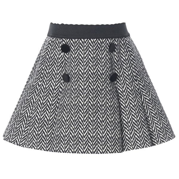 Girls Grey Wool Rib Waist Skirt - CÉMAROSE | Children's Fashion Store - 1