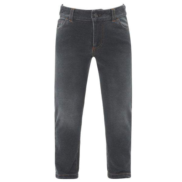 Boys Dark Grey Cotton Jeans - CÉMAROSE | Children's Fashion Store - 1