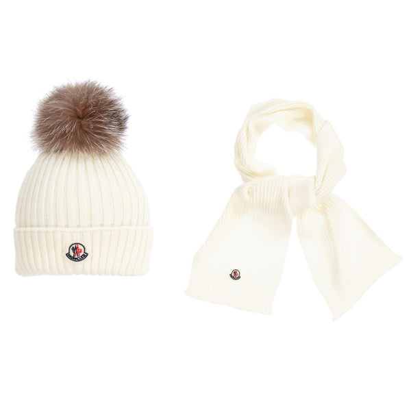 Girls Natural Virgin Wool Hat & Scarf Set