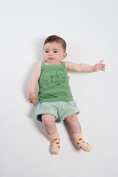 Baby Girls Light Green Terry Towel Shorts