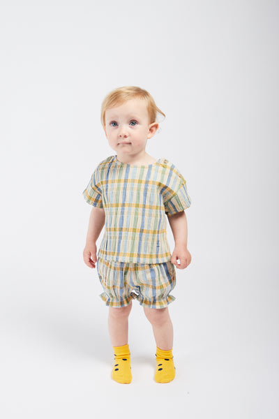 Baby Girls Multicolor Check Cotton Shorts
