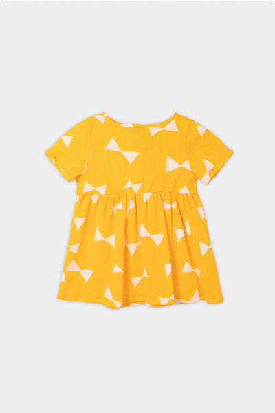 Baby Girls Yellow Bow Cotton Dress