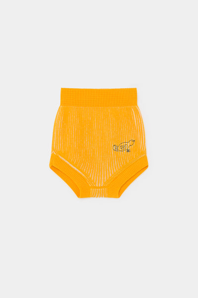 Baby Girls Yellow Striped Knitted Shorts