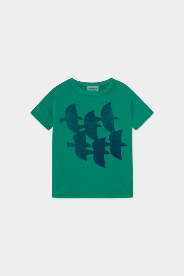Boys Green Flying Birds Cotton T-shirt