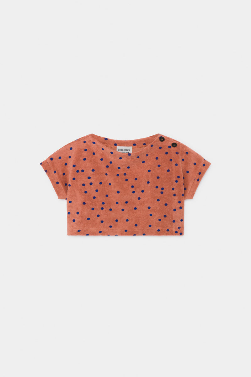 Girls Maple Leaf Spots Towel Cropped Top