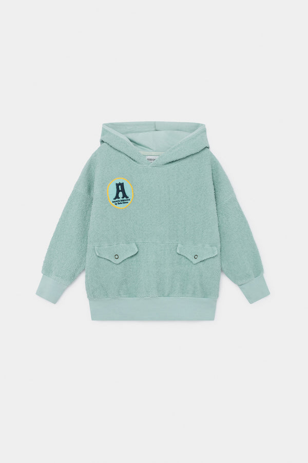 Girls Green Hooded Cotton Sweatshirt