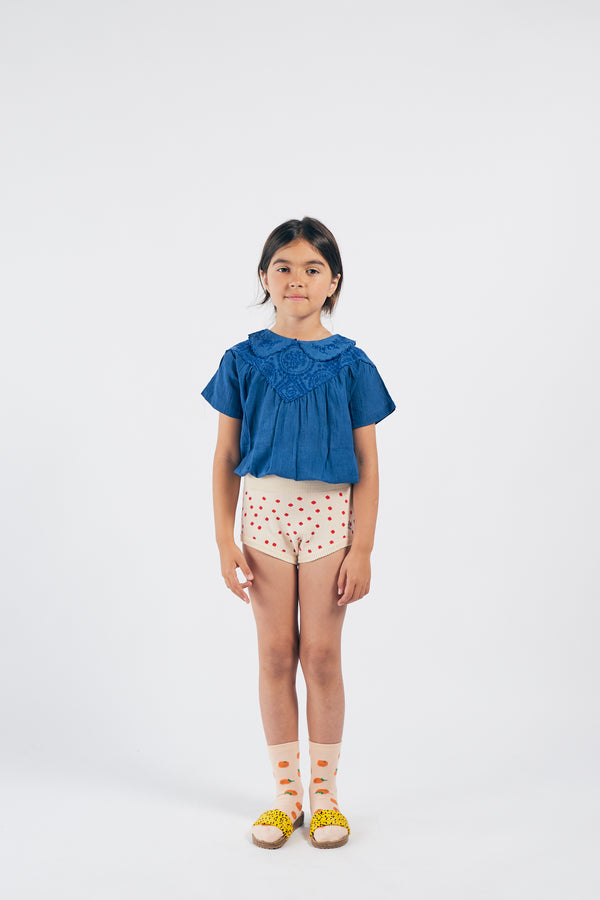 Girls Blue Embroidered Cotton Top