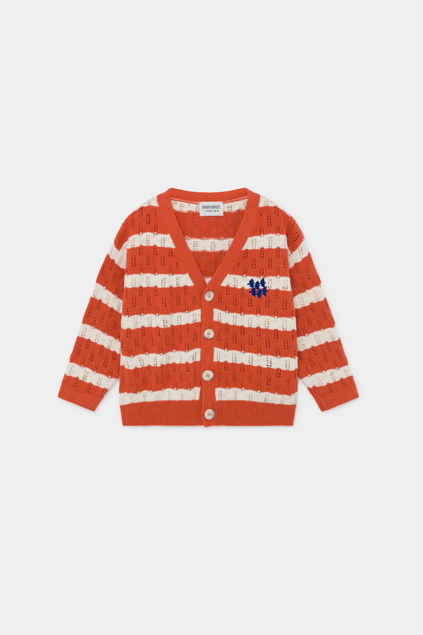 Girls Orange Striped Knitted Cardigan
