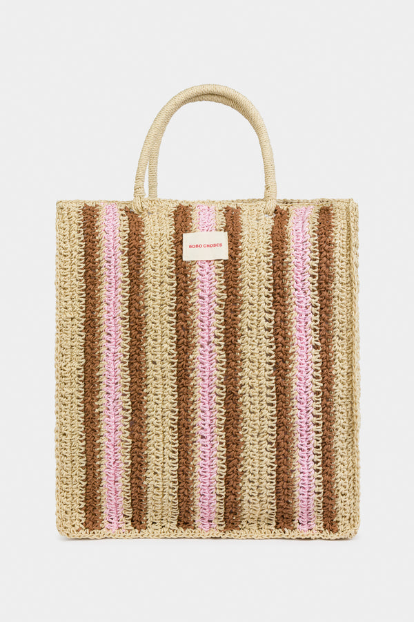 Girls Multicolor Stripe Tote Bag