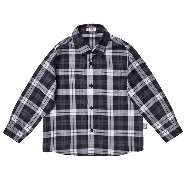 Boys Black Check Cotton Jersey Check Shirt - CÉMAROSE | Children's Fashion Store