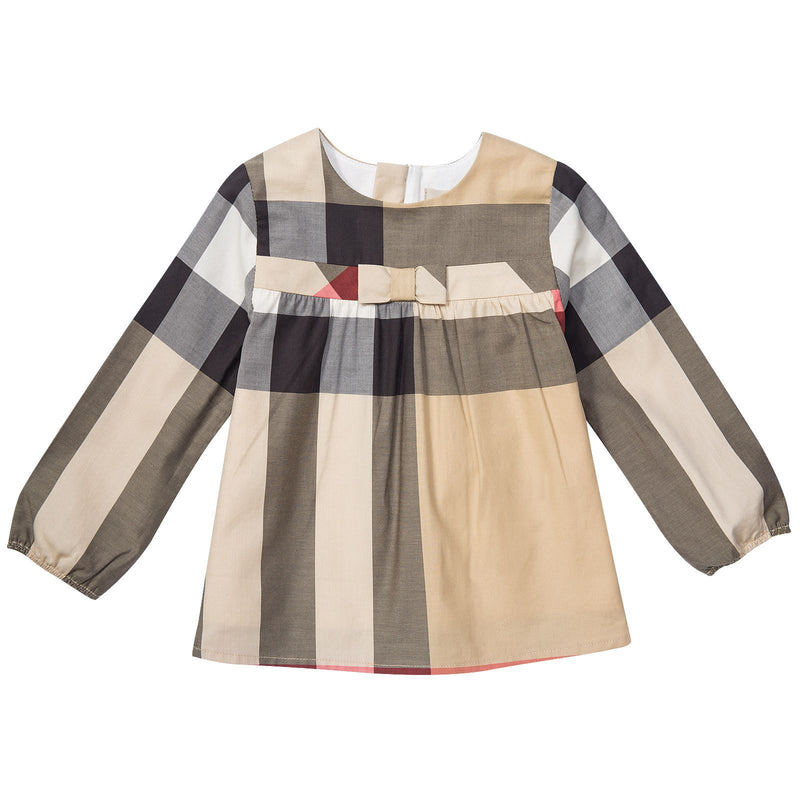 Baby Girls Beige Check Cotton Long Sleeve Dress With Bow - CÉMAROSE | Children's Fashion Store - 1