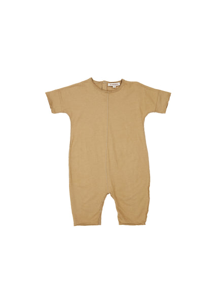 Baby Boys & Girls Light Khaki Cotton Babysuit