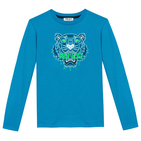 Boys Light Blue Embroidered Tiger Head Cotton T-Shirt - CÉMAROSE | Children's Fashion Store