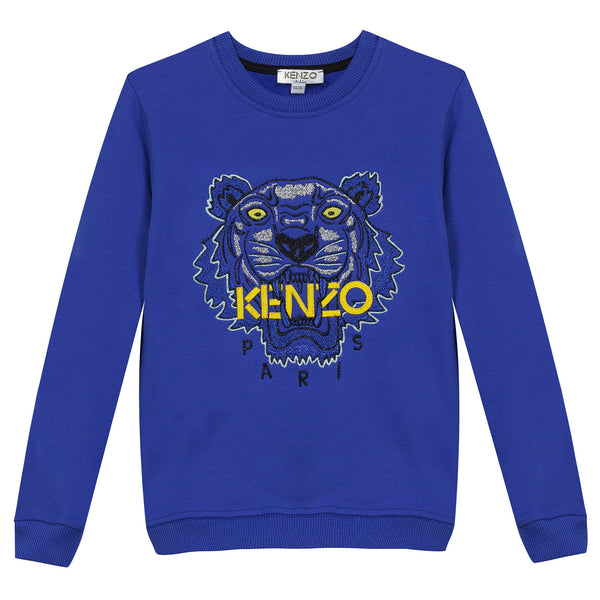 Girls Electric Blue Embroidered Tiger Head Cotton Sweatshirt - CÉMAROSE | Children's Fashion Store