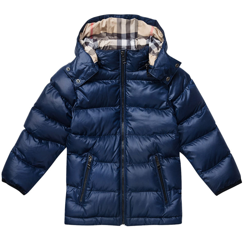 Boys Navy Blue Hooded Puffer Jacket - CÉMAROSE | Children's Fashion Store - 1