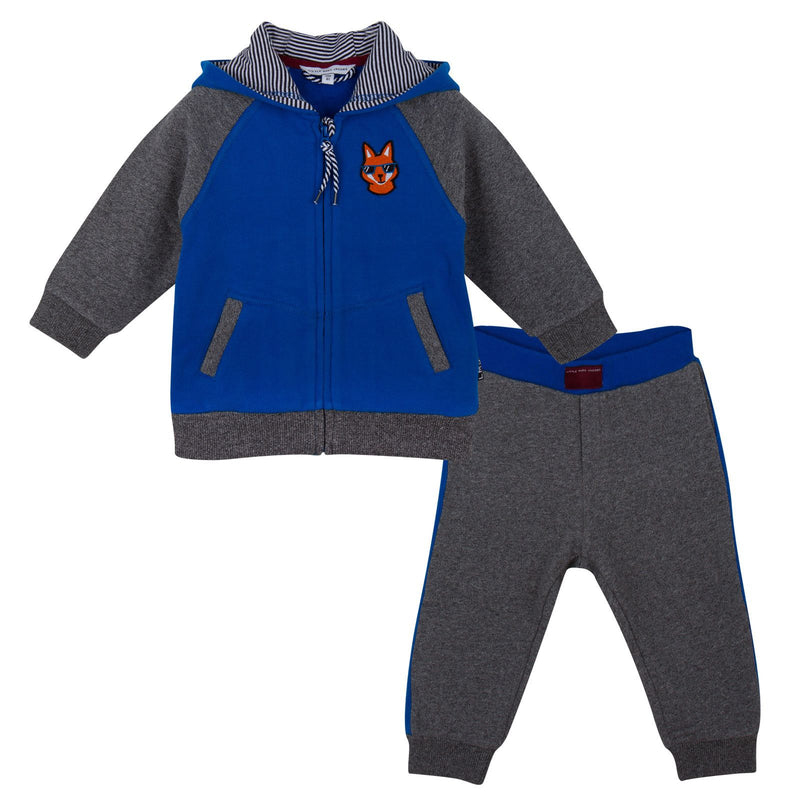 Baby Boys Blue&Grey Hooded Tracksuit - CÉMAROSE | Children's Fashion Store - 1