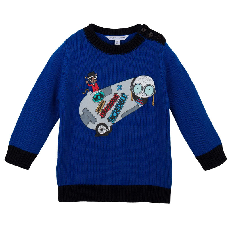 Baby Boys Blue 'Mr Marc' Knitted Sweater - CÉMAROSE | Children's Fashion Store - 1