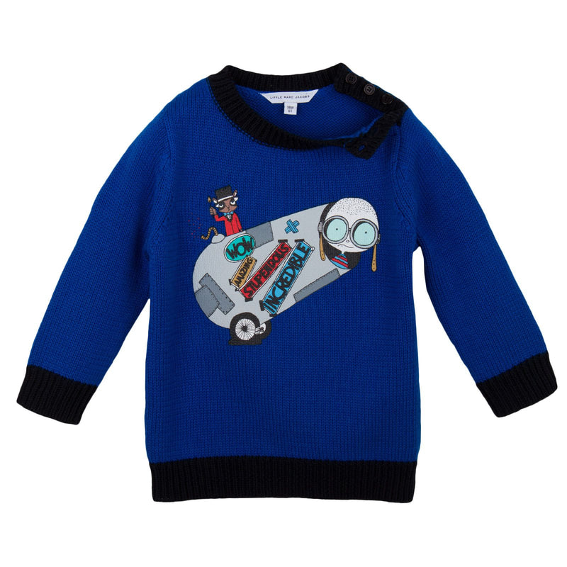 Baby Boys Blue 'Mr Marc' Knitted Sweater - CÉMAROSE | Children's Fashion Store - 3