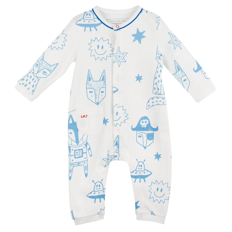 Baby Ivory&Blue Cotton Space Printed Babygrow - CÉMAROSE | Children's Fashion Store - 1