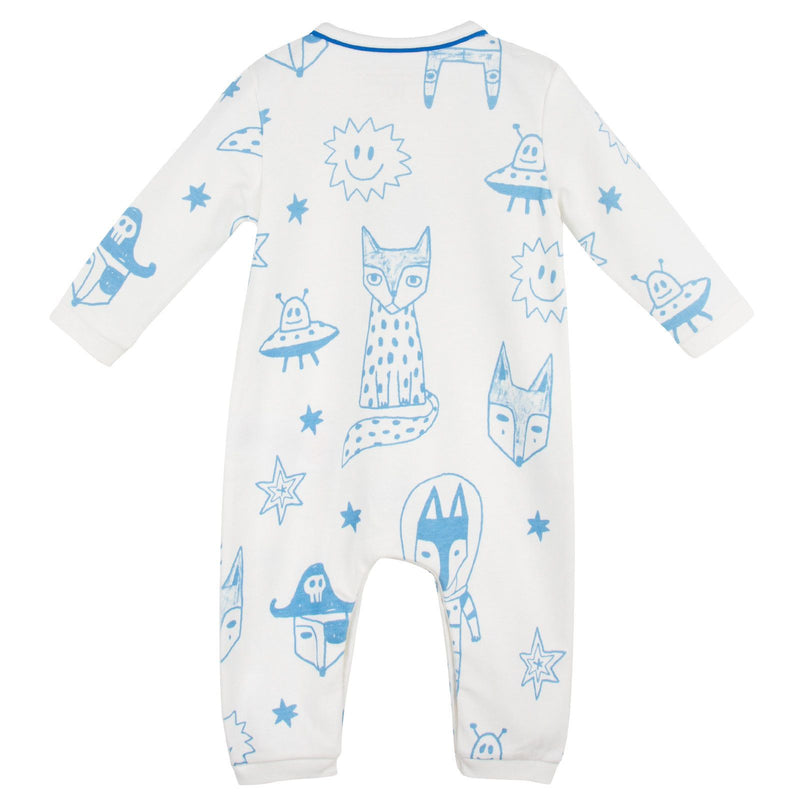 Baby Ivory&Blue Cotton Space Printed Babygrow - CÉMAROSE | Children's Fashion Store - 2