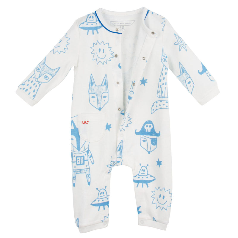 Baby Ivory&Blue Cotton Space Printed Babygrow - CÉMAROSE | Children's Fashion Store - 3