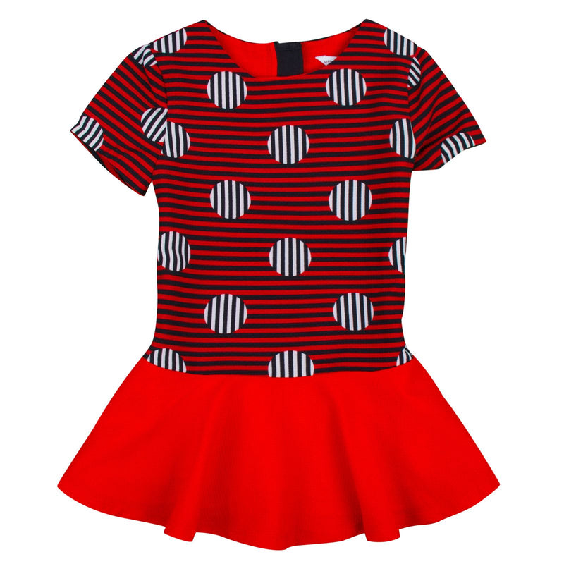Girls Red&Navy Blue Stripe Dress With Necklace - CÉMAROSE | Children's Fashion Store - 1