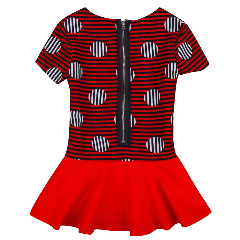 Girls Red&Navy Blue Stripe Dress With Necklace - CÉMAROSE | Children's Fashion Store - 2