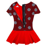 Girls Red&Navy Blue Stripe Dress With Necklace - CÉMAROSE | Children's Fashion Store - 3