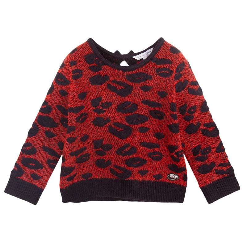 Girls Red&Navy Leopard Knitted Sweater - CÉMAROSE | Children's Fashion Store - 1