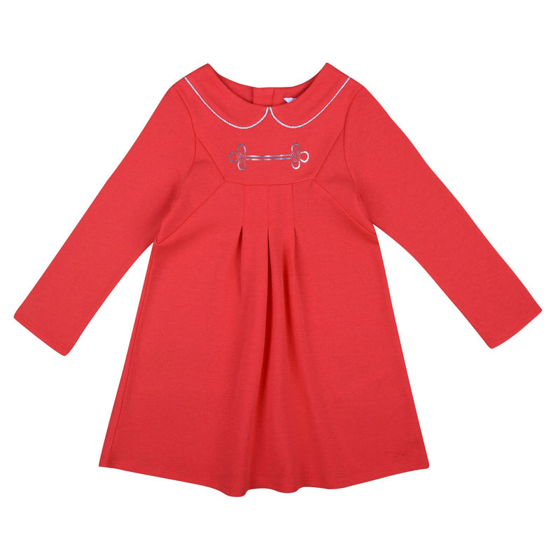 Baby Girls Coral Pink Jersey Dress With Collar Print - CÉMAROSE | Children's Fashion Store - 1