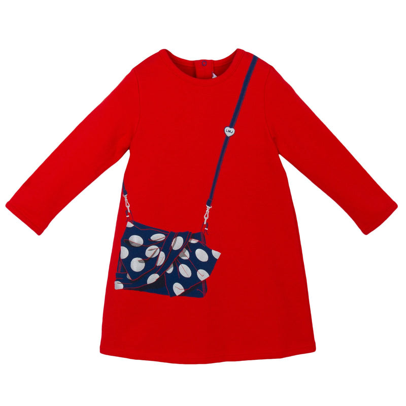 Baby Girls Red Jersey 'Handbag' Printed Dress - CÉMAROSE | Children's Fashion Store - 1