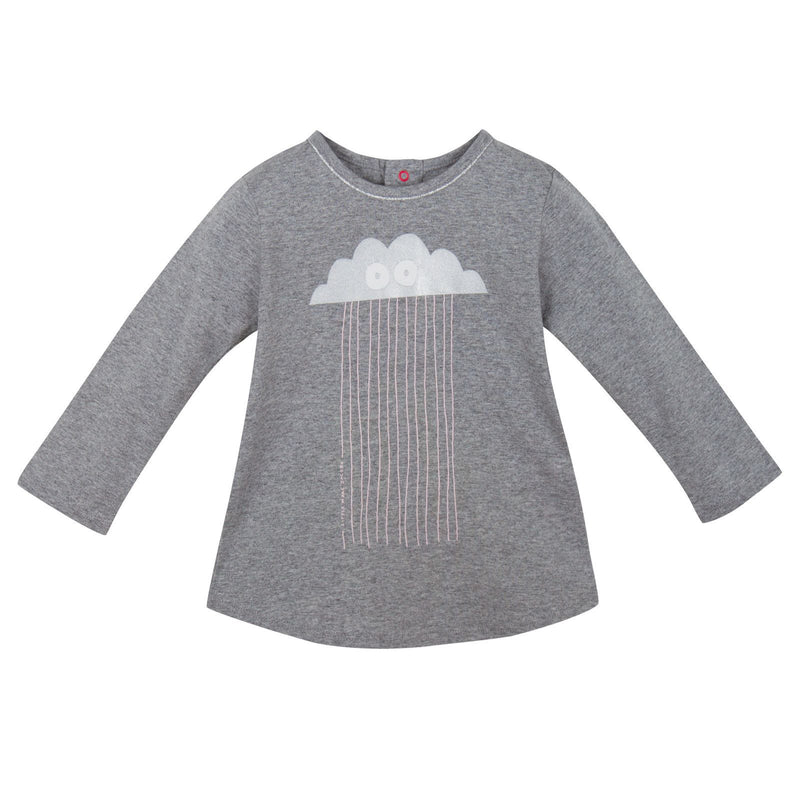 Baby Girls Grey 'Cloud&Rain' Printed T-Shirt - CÉMAROSE | Children's Fashion Store - 1