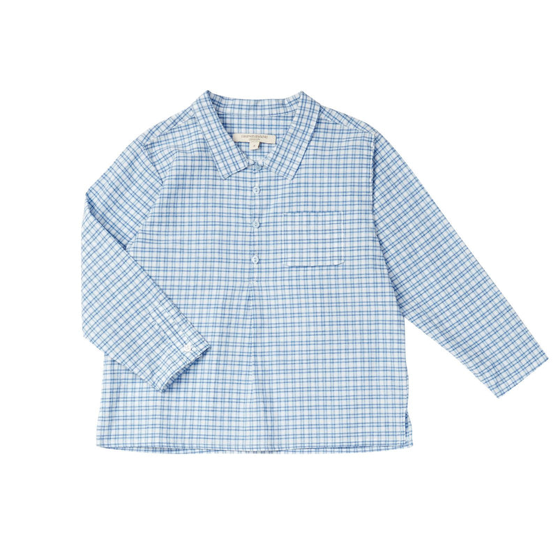 Boys Blue Check Cotton Alkanet Shirt With Patch Pockets - CÉMAROSE | Children's Fashion Store