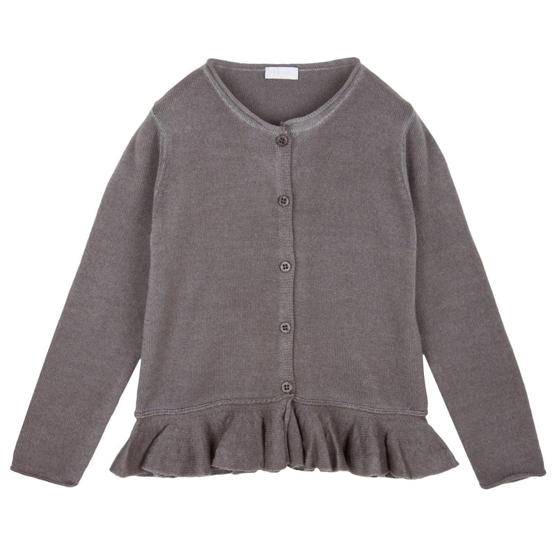 Girls Dark Grey Knitted Cardigan With Peplum Hem - CÉMAROSE | Children's Fashion Store - 1