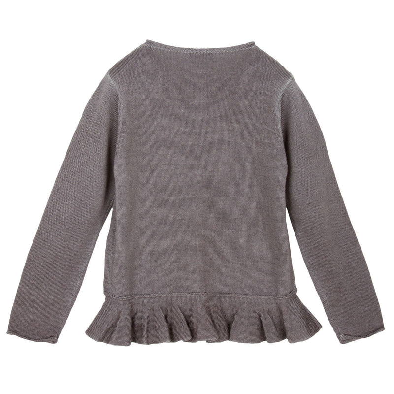 Girls Dark Grey Knitted Cardigan With Peplum Hem - CÉMAROSE | Children's Fashion Store - 2