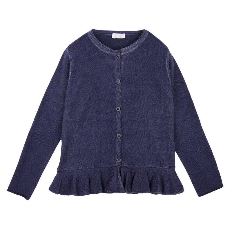 Girls Navy Blue  Knitted Cardigan With Peplum Hem - CÉMAROSE | Children's Fashion Store - 1