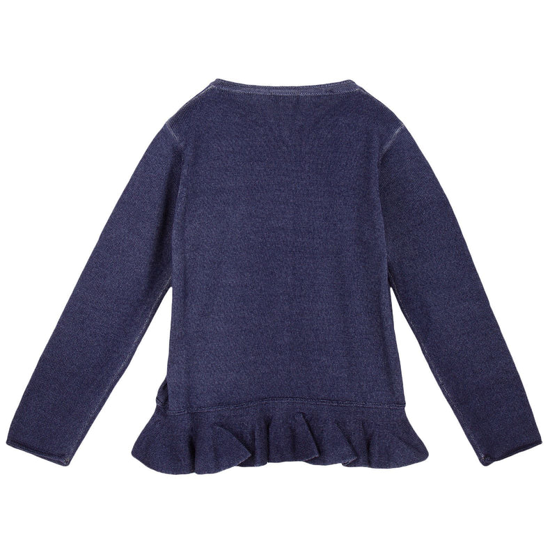 Girls Navy Blue  Knitted Cardigan With Peplum Hem - CÉMAROSE | Children's Fashion Store - 2