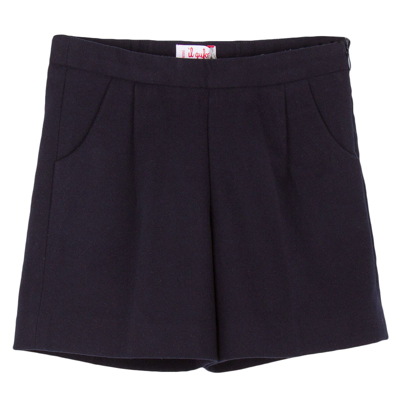 Girls Dark Grey Synthetic Wool Bermuda Short - CÉMAROSE | Children's Fashion Store - 1