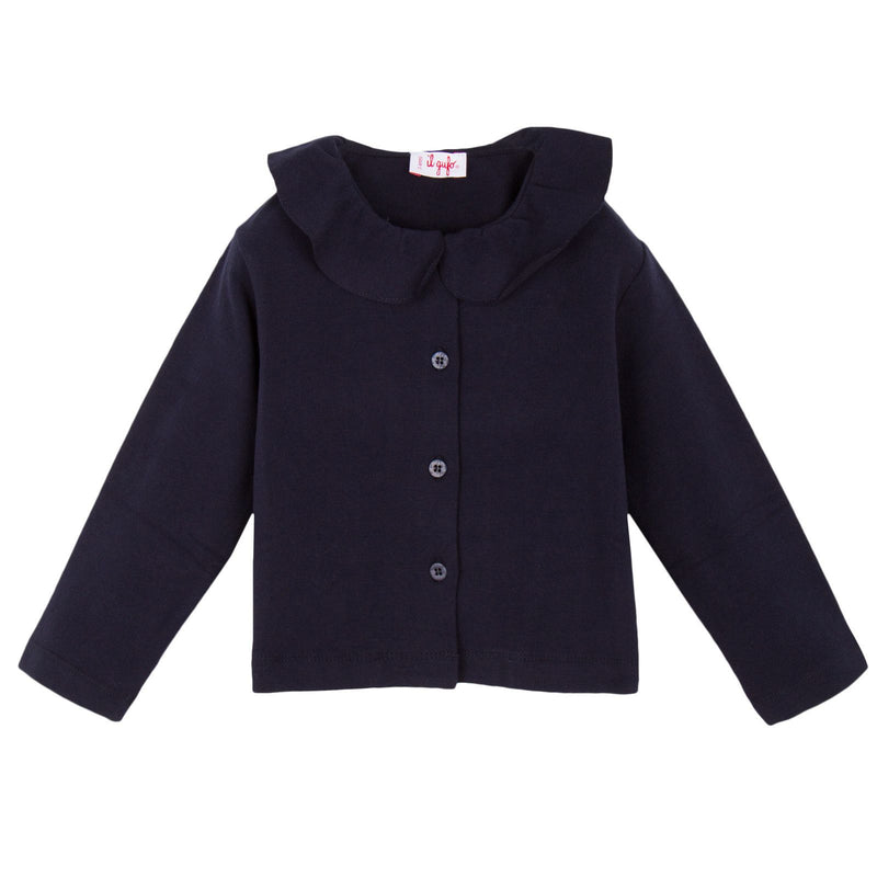Girls Navy Blue Ruffled Collar Jersey Jacket - CÉMAROSE | Children's Fashion Store - 1