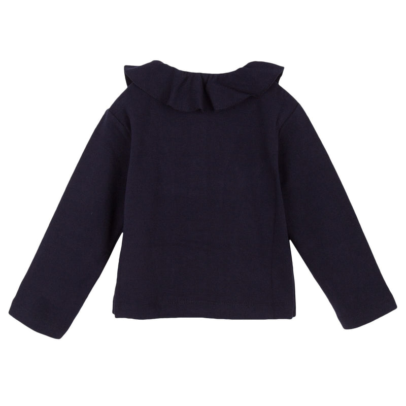 Girls Navy Blue Ruffled Collar Jersey Jacket - CÉMAROSE | Children's Fashion Store - 2