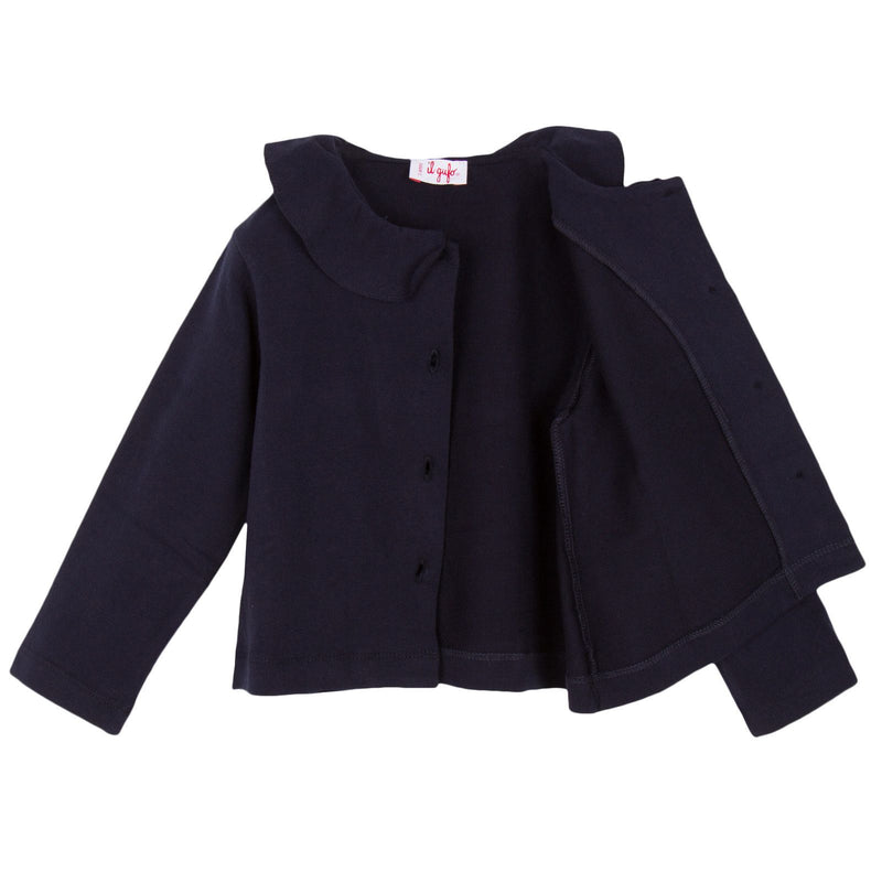 Girls Navy Blue Ruffled Collar Jersey Jacket - CÉMAROSE | Children's Fashion Store - 3