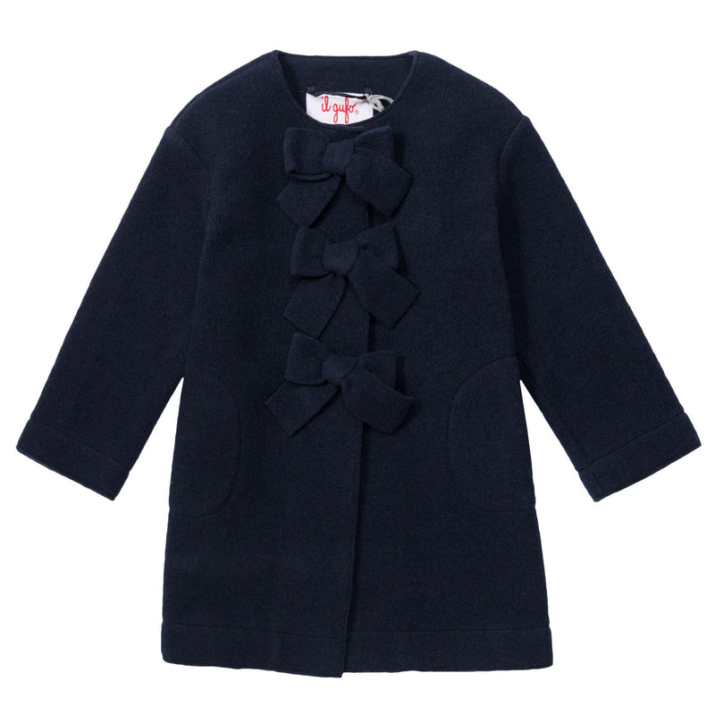 Girls Navy Blue Fancy Bows Trims Coat - CÉMAROSE | Children's Fashion Store - 1