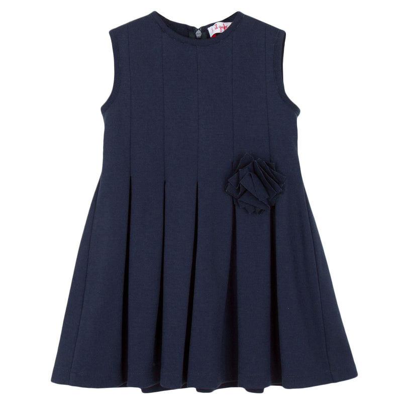 Girls Navy Blue Jersey Dress With Fancy Flower - CÉMAROSE | Children's Fashion Store - 1