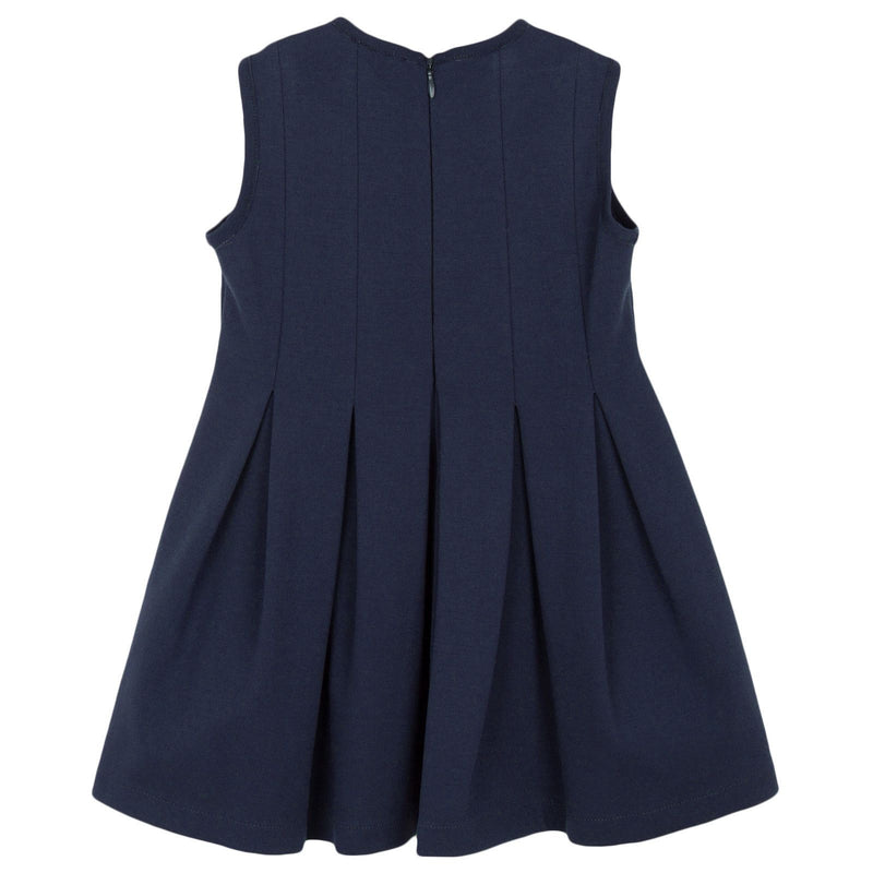 Girls Navy Blue Jersey Dress With Fancy Flower - CÉMAROSE | Children's Fashion Store - 2